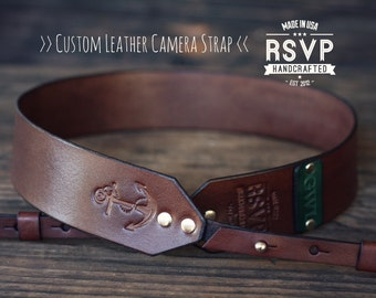 Custom Leather Camera Strap, Handmade personalized gift, Brown stain, Nautical, Anchor, hipster, Custom text, name initials