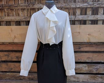 Vintage 1980's White Cream Colections International Ruffled Front Blouse 100% Georgette Polyester Office Secretary Blouse