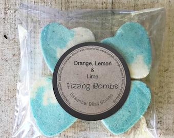 Orange lemon and lime mini heart fizzing bath bombs