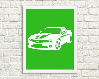 Racecar Nursery Boy Room Green Camaro Print