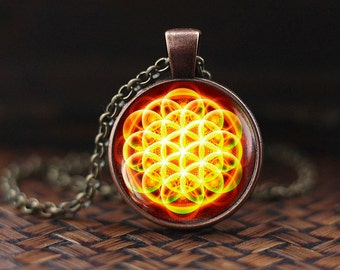 Flower of Life pendant, Sacred Geometry necklace, Flower of Life mandala, Yoga Pendant,  Flower of Life Jewelry, men's necklace