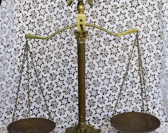 Vintage Peerage of England Brass Scales of Justice with Eagle Finial, Collectables, Home Decor, Farmhouse Decor, Collectibles, Shabby Chic