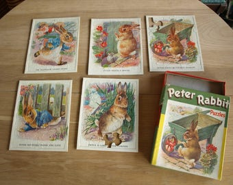 Peter Rabbit Puzzles by Samuel Gabriel & Sons NY 1940 -50s No. T148 - 5 puzzles