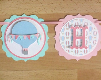 Pastel Hot Air Balloon Birthday Party Shower Banner Sign Aqua Turquoise Pink Blue