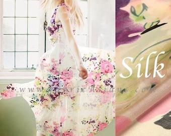 Pink Chiffon. Cream Silk Chiffon. Wedding dress fabric by the yard