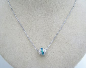 a381 Stunning 14k White Gold Ball Studded with Opals and Diamonds on 14k Chain