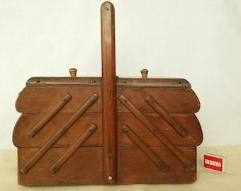Vintage sewing box, sewing basket, wooden sewing box, fold out box, german sewing box, craft box, wooden sewing fold out box, sewing box,