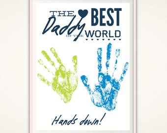 Best Daddy Gifts - Gifts for Daddy, Personalized Father's Day Gift from Kids, INSTANT Download DIY Handprint Art, Best Daddy Ever, Birthday