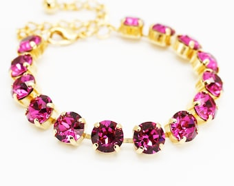 Fuchsia Pink Bracelet Gold, Ruby Rhinestone Bracelet Swarovski Elements, Adjustable Bracelet Chain Link, Bridal Bridesmaids Wedding