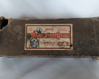 Vintage Absorbent Cotton box w/cotton roll