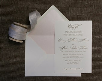 Traditional Initials wedding invitation, in blush and gold