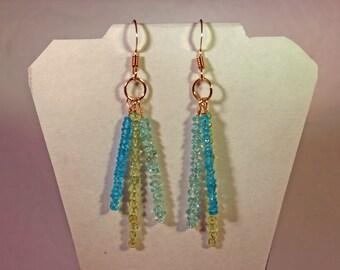 Apatite, Peridot & Aquamarine Earrrings # 988
