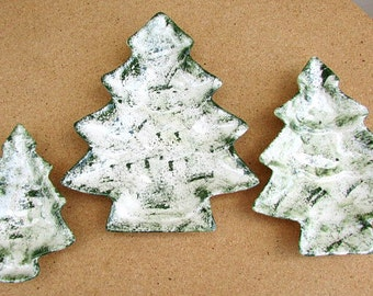 vintage 80s ceramic christmas tree stacking dishes candy nuts green spongeware hand made 3