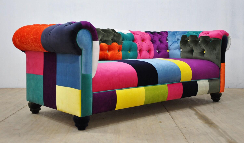 canap chesterfield patchwork cascade de couleur. Black Bedroom Furniture Sets. Home Design Ideas