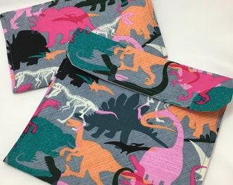 Pink Dinosaurs Reusable Sandwich Bag, Reusable Snack Bag
