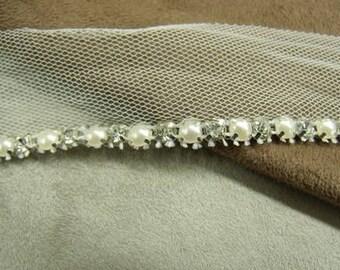 Ribbon RHINESTONE / Pearl Pearl 3 cm.