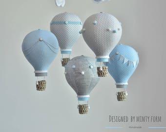 Gray Light Blue White Hot Air Balloon Mobile Travel Theme Nursery Decor Custom Mobile World Map