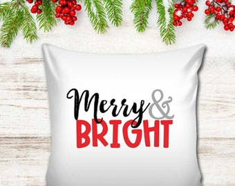 Merry & Bright Christmas Pillow Cover