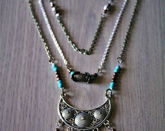 "Chalcedony necklace and turquoise ""Language"""