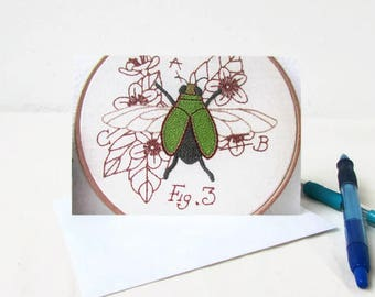 Blank note cards, hand embroidery art note cards, thank you cards, blank stationery, insect card notecards with envelope, handmade in the UK