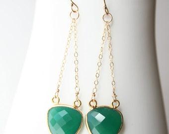 Green Earrings, Gemstone Jewelry, Triangle Drop Earrings
