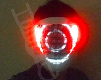 Cyclops Light Up Mask / Sound Reactive DJ mask LED Mask Cyborg Cosplay Glow Costume Robot Bot Head Helmet Gig Rave Outfit Glow Mask