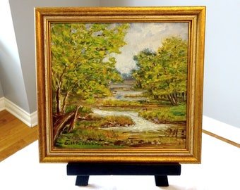 Vintage Signed Original 1960's Impressionist Landscape Oil Painting on board