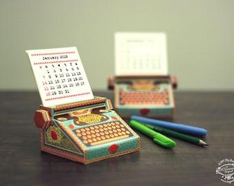 2018 & 2017 DIY Printable Paper Desk Calendar Papercraft | Colorful Typewriter Miniature | Printable A4 template pdf | Gift Colleague Writer