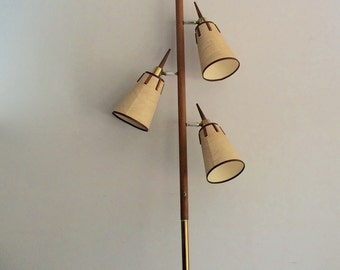Superior Mid Century Wood And Brass Tension Pole Lamp, Extension Pole Lamp, Modern  Floor Lamp