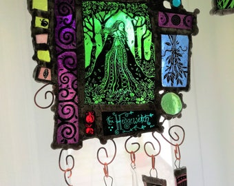 The Hedgewitch - Stained Glass Art Panel