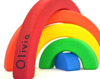 Personalized Wooden Rainbow Stacker - Waldorf Toddler Toy
