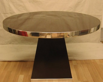 Pierre Cardin brown and chrome round/oval dining table