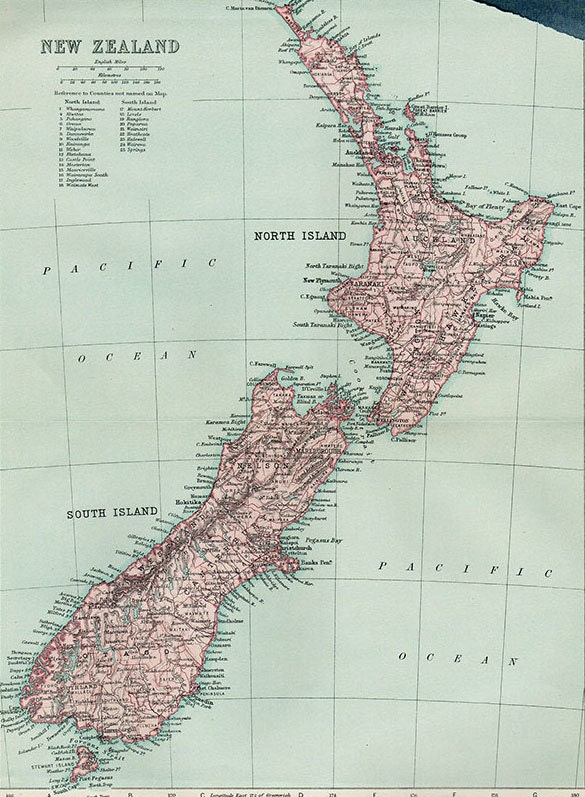 Large Map of New Zealand 1924 atlas antique map NZ Map Map