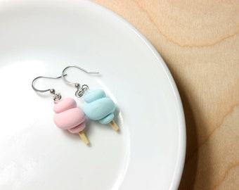 Cotton candy earrings polymer clay pink and blue cotton candy stainless steel earrings