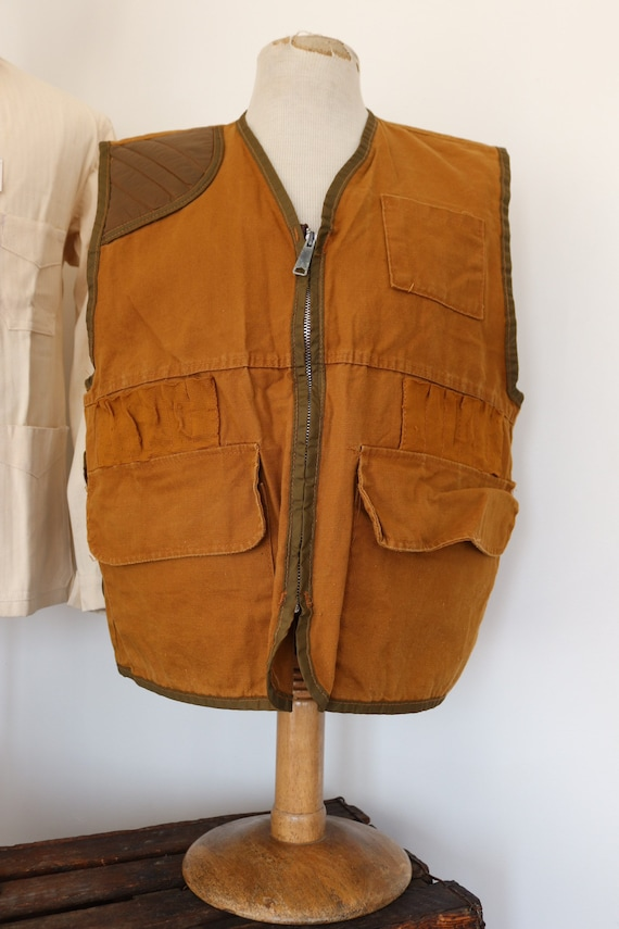 "Vintage 1980s 80s American tin cloth duck cotton hunting shooting vest Saf-T-Bak 46"" chest"