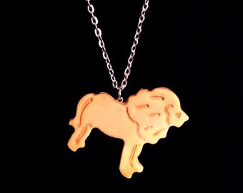 Animal Cracker Necklace - Faux Lion Polymer Clay Cookie Charm - Cute Fake Food Pendant -Kawaii Jewelry