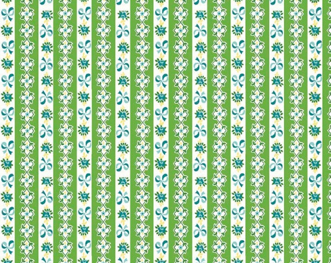 Dainty Darling Fabric by Lindsay Wilkes from The Cottage Mama for Riley Blake Designs and Penny Rose Fabrics - Green Stripe