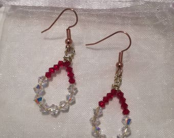 Crystal beaded hoop style earrings