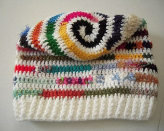 White Bright Scrappy SPIRAL Slouchy Hat in Crochet by FreCkLes GarDeN |Bohemian|Tam|Oversized Beanie|Dreadlock Hat|Colorful