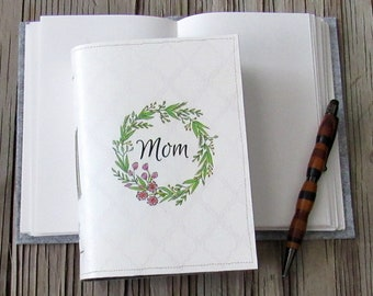 mom journal - mom floral wreath journal, gifts under 30 by tremundo