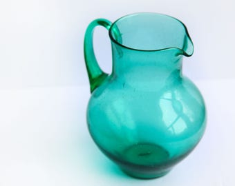 Free Blown Green Glass Pitcher ~ Vintage Lemonade Pitcher ~ Country Chic Dining Decor