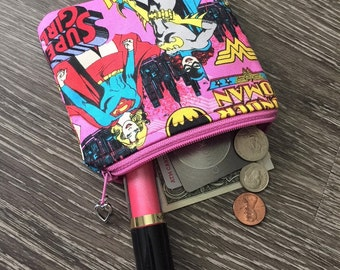 Coin Purse, Zippered Pouch,  Business Card Holder, Credit Card Holder, Coin Pouch in DC Comics Girl Power Fabric