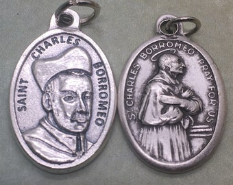 St Charles Borromeo holy medal -- Italian Catholic saint, patron of bishops, catechists, dieting, abdominal pain, ulcers, colic, obesity