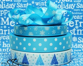 "5/8"" or 7/8"" or 1"" Christmas Tree Grosgrain Ribbon"