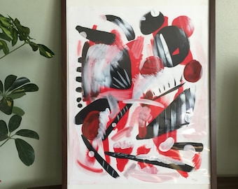 Pensamientos - Painting abstract acrylic surreal red
