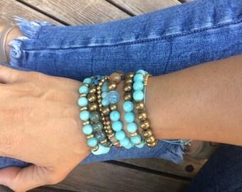 Turquoise Bracelets Set, Turquoise Stretch Bracelet, Turquoise Bracelet, Beaded Bracelet,womens bead bracelet, Turquoise Elastic Bracelet