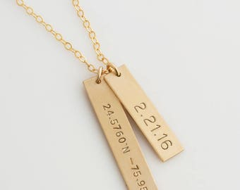 Personalized Bar Necklace /Coordinates Necklace/Gold Bar Necklace/ Latitude and Longitude/Personalized Wedding Jewelry/Anniversary Gift/N229