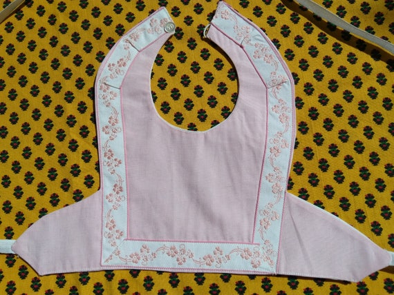 Vintage Pink Baby Bib French Cotton Lined Baby Accessory #sophieladydeparis