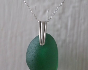 Green/Teal Sea Glass Sterling Silver Necklace, Pendant, Seaglass, Seaglass Necklace, Beach Glass, Beach Jewelry, Sea Glass Pendant, Seaham