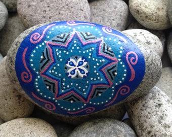 Painted rock, painted stone, decorative rock, mandala, birthday gift, paperweight, hand painted rock, rock art, birthday present, desk decor